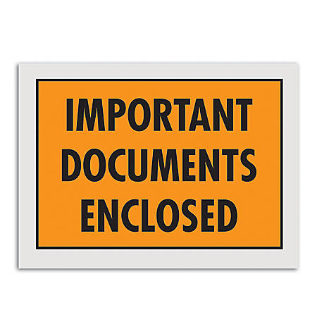"""Office Depot® Brand """"Important Documents Enclosed"""" Envelopes, Full Face, 5 1/4"""" x 7 1/2"""", Orange, Pack Of 1,000"""