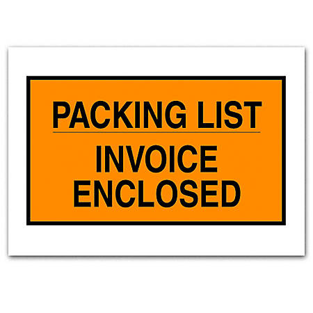 "Office Depot® Brand ""Packing List/Invoice Enclosed"" Envelopes, Full Face, 7"" x 10"", Orange, Pack Of 1,000"