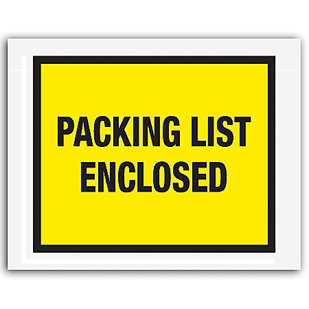 """Office Depot® Brand """"Packing List Enclosed"""" Envelopes, Full Face 7"""" x 5 1/2"""", Yellow, Pack Of 1,000"""