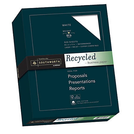 """Southworth® FSC Certified Cotton Business Paper, 8 1/2"""" x 11"""", 75% Recycled, 20 Lb, White, Box Of 500"""
