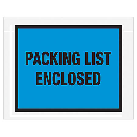 "Office Depot® Brand ""Packing List Enclosed"" Envelopes, Full Face 7"" x 5 1/2"", Blue, Pack Of 1,000"