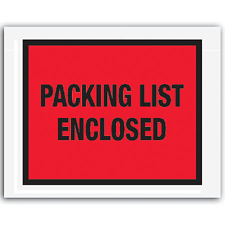 """Office Depot® Brand """"Packing List Enclosed"""" Envelopes, Full Face 7"""" x 5 1/2"""", Red, Pack Of 1,000"""