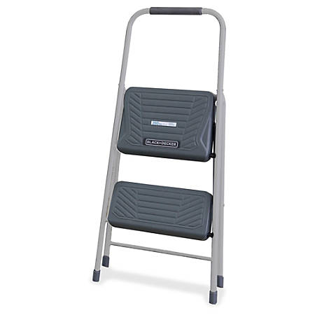 "Louisville Steel Domestic 2-Step Step Stool, 200 lb Load Capacity, 36 15/16""H x 17 5/8""W x 12 1/2""D, Gray"