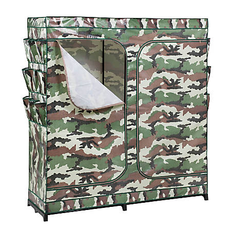 """Honey-Can-Do Portable Cloth Wardrobe, 64""""H x 19 3/4""""W x 60""""D, Camouflage"""