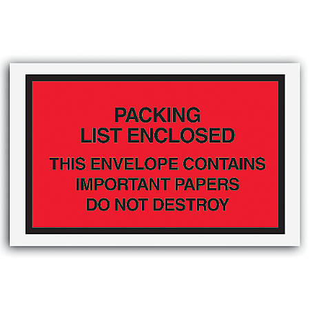 "Packing List Envelopes, 7"" x 6"", Red, Pack Of 1,000"