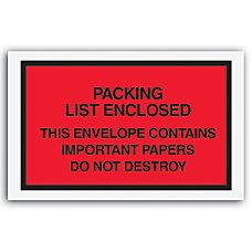 Packing List Envelopes 7 x 6