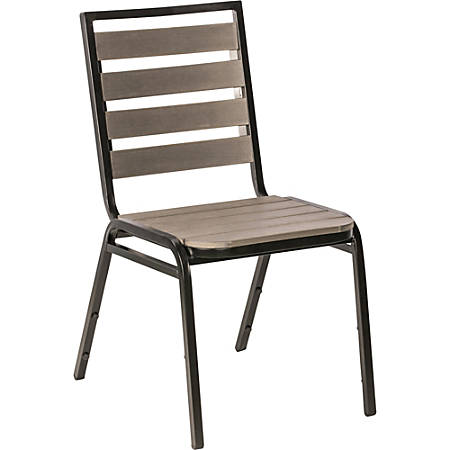 Lorell® Faux Wood Outdoor Chairs, Charcoal/Black, Set Of 4 Chairs