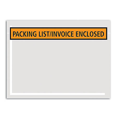 "Office Depot® Brand ""Packing List/Invoice Enclosed"" Envelopes, Panel Face, 4 1/2"" x 5 1/2"", Orange, Pack Of 1,000"