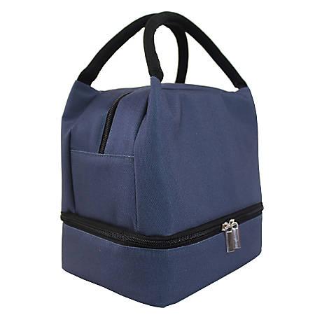 "Office Depot® Solid Lunch Box With Bottom Zipper, 9-7/16""H x 7""W x 6-1/8""D, Navy Blue"