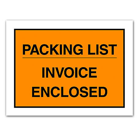 "Office Depot® Brand ""Packing List/Invoice Enclosed"" Envelopes, Full Face, 4 1/2"" x 5 1/2"", Orange, Pack Of 1,000"