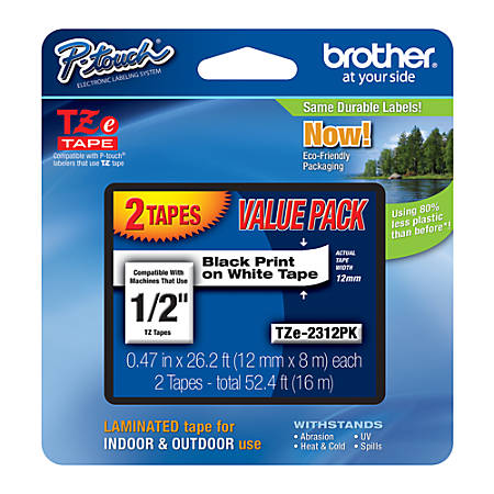 """Brother® TZe-231 Black-On-White Tapes, 0.5"""" x 26.2', Pack Of 2"""