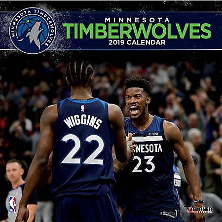 "Turner Sports Monthly Wall Calendar, 12"" x 12"", Minnesota Timberwolves, January to December 2019"