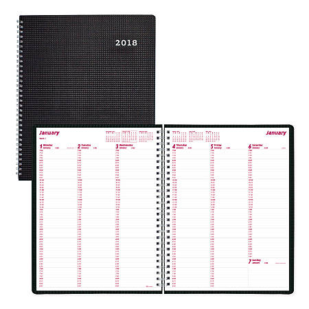 """Brownline® Duraflex Weekly Planner, 8 1/2"""" x 11"""", 50% Recycled, FSC Certified, Black, January 2018 to December 2018"""