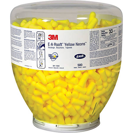 E-A-R Classic Earplugs, Soft Foam, Neon Yellow, Bottle Of 1,000