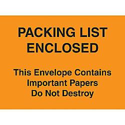 Packing List Envelopes 4 12 x