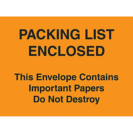 """Packing List Envelopes, 4 1/2"""" x 6"""", Yellow, Pack Of 1,000"""