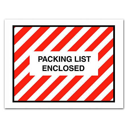 "Office Depot® Brand ""Packing List Enclosed"" Envelopes, Full Face, 4 1/2"" x 6"", Red/White, Pack Of 1,000"
