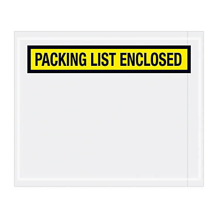 """Office Depot® Brand """"Packing List Enclosed"""" Envelopes, Panel Face, 4 1/2"""" x 5 1/2"""", Yellow, Pack Of 1,000"""