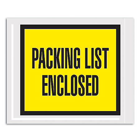 """Office Depot® Brand """"Packing List Enclosed"""" Envelopes, Full Face, 4 1/2"""" x 5 1/2"""", Yellow, Pack Of 1,000"""