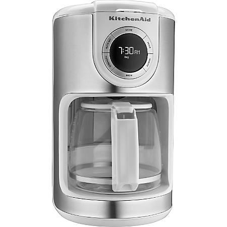 KitchenAid 12 Cup Glass Carafe Coffee Maker White by fice Depot #0: vw etz00
