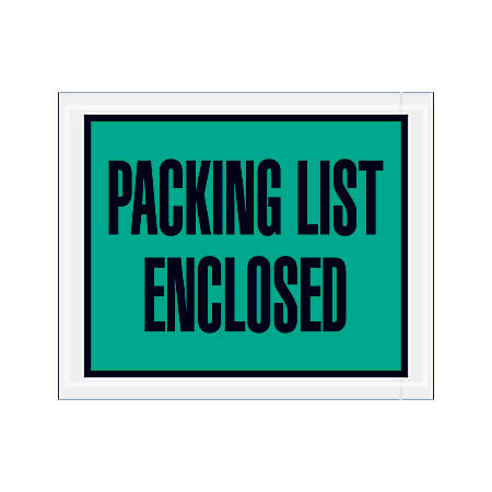 "Office Depot® Brand ""Packing List Enclosed"" Envelopes, Full Face, 4 1/2"" x 5 1/2"", Green, Pack Of 1,000"
