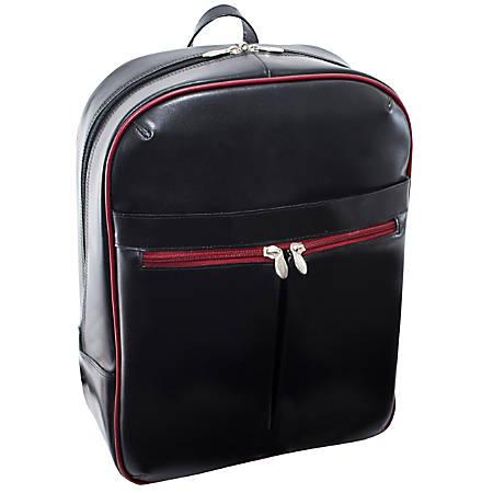 McKleinUSA Avalon L Series Leather Slim Laptop Backpack, Black/Red Trim