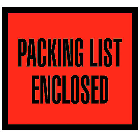 """Office Depot® Brand """"Packing List Enclosed"""" Envelopes, Full Face, 4 1/2"""" x 5 1/2"""", Red, Pack Of 1,000"""