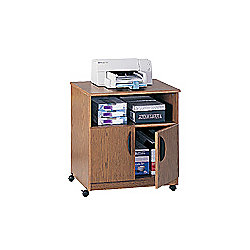 "Safco® Wood Mobile Machine Stand, 30 1/4""H x 28 1/8""W x 19 3/4""D, Medium Oak"