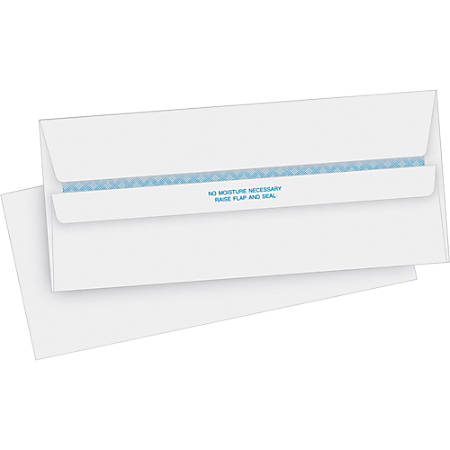"Business Source Regular Security Invoice Envelopes - Business - #10 - 4 1/8"" Width x 9 1/2"" Length - 24 lb - Self-sealing - 500 / Box - White"