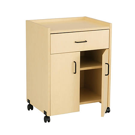 "Safco® Mobile Refreshment Center With Drawer, 31""H x 23""W x 18 3/4""D, Maple"