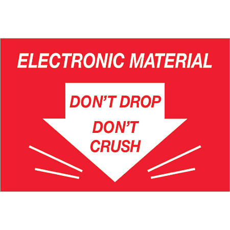 "Tape Logic® Preprinted Shipping Labels, DL1314, Don't Drop Don't Crush ? Electronic Material, Rectangle, 2"" x 3"", Red/White, Roll Of 500"