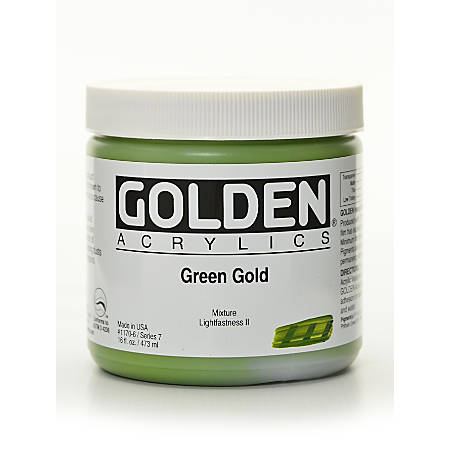 Golden Heavy Body Acrylic Paint, 16 Oz, Green Gold