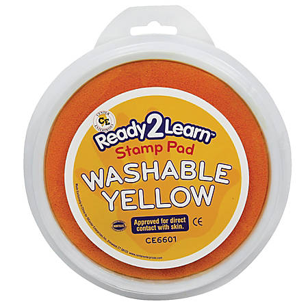 Center Enterprises Jumbo Circular Washable Paint/Ink Pads, 1 Oz, Yellow, Pack Of 6
