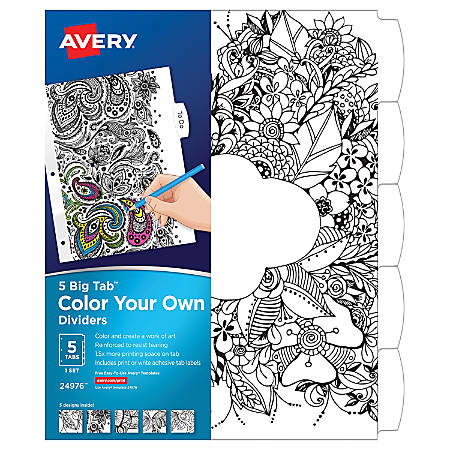 "Avery® Big Tab Reversible Fashion Dividers, 8 1/2"" x 11"", Black/White, Pack Of 5"