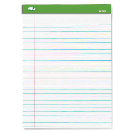 "Office Depot® Brand 100% Recycled Perforated Legal Pads, 8 1/2"" x 11 3/4"", 50 Sheets White, Pack Of 6 Pads"