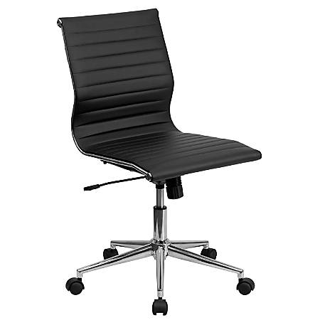 Flash Furniture Ribbed Upholstered Leather Mid-Back Swivel Conference Chair, Black/Silver