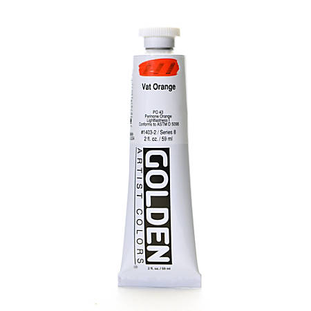 Golden Heavy Body Acrylic Paint, 2 Oz, Vat Orange