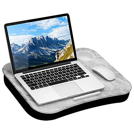 "LapGear Lap Desk With Cup Holder, 14.75""H x 18.5""W x 2.8""D, White Marble"