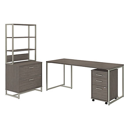 "kathy ireland® Office by Bush Business Furniture Method Table Desk with File Cabinets and Hutch, 72""W, Cocoa, Standard Delivery"