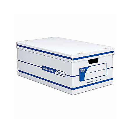 "Office Depot® Brand Quick Set-Up Storage Boxes With Lift-Off Lid, Legal, 24"" x 15"" x 10"", 60% Recycled, White/Blue, Pack Of 12"