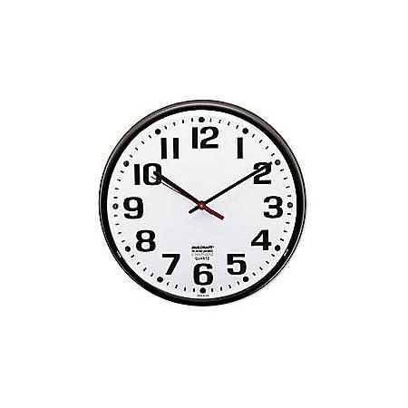 "Shatterproof Crystal Dial Cover Clock, 12"" Diameter, Dark Brown Frame (AbilityOne 6645-01-046-8849)"