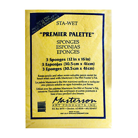 "Masterson Premier Acrylic Paper And Sponge Refills, 12"" x 16"", Pack Of 2 Sets"