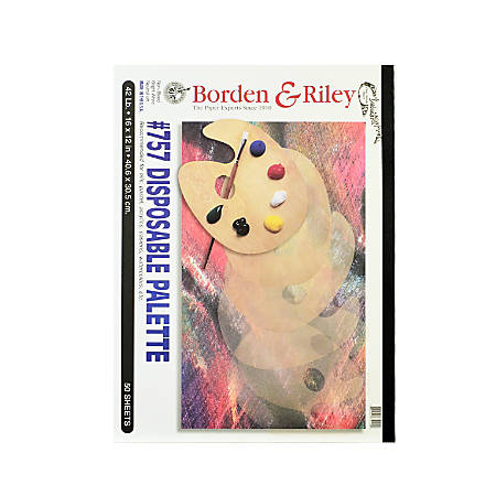 "Borden & Riley #757 Disposable Palette Pads, 12"" x 16"", 50 Sheets Per Pad, Pack Of 2 Pads"