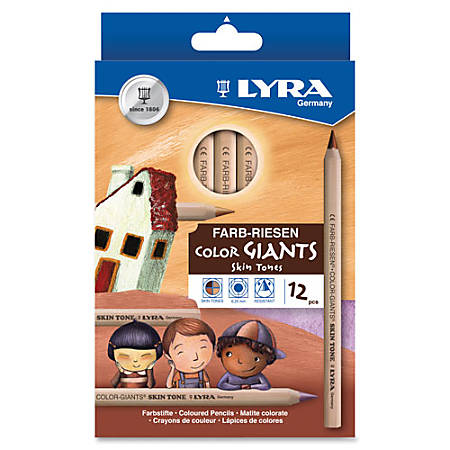 Lyra Color-Giants® Skin-Tone Pencils, 6.3 mm Lead, Assorted Colors, Pack Of 12