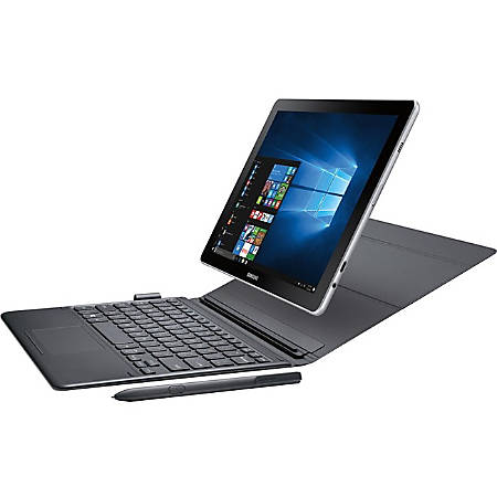 "Samsung Galaxy Book SM-W620 10.6"" Touchscreen 2 in 1 Notebook - 1920 x 1280 - Core M - 4 GB RAM - 128 GB Flash Memory - Silver - Windows 10 Home - 5 Megapixel Front Camera - Bluetooth - 9 Hour Battery Run Time"