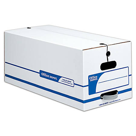 "Office Depot® Brand Quick Set-Up Storage Boxes With String & Button Closure, Letter, 24"" x 12"" x 10"", 60% Recycled, White/Blue, Pack Of 12"