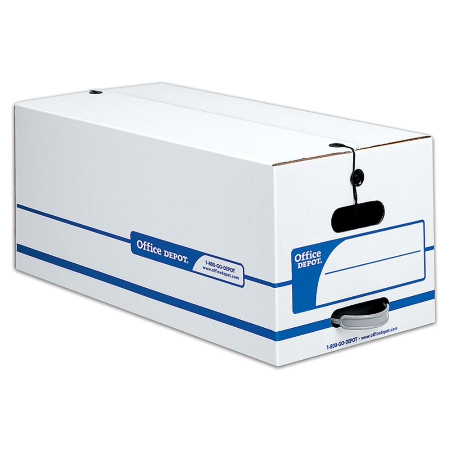 Office Depot Brand Quick Set Up Storage Boxes With String Button Closure  Letter 24 X 12 X 10 60percent Recycled WhiteBlue Pack Of 12 By Office Depot  U0026 ...