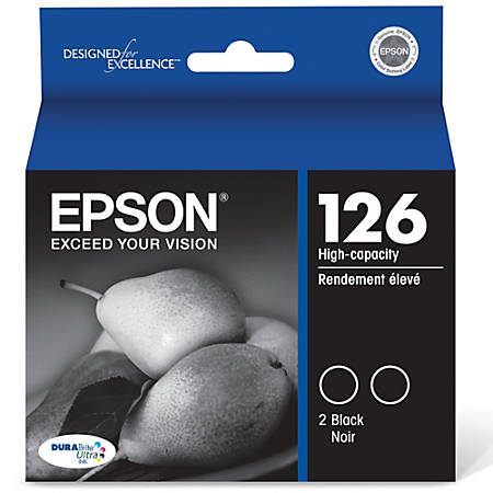 Epson® 126 DuraBrite® Ultra High-Capacity Black Ink Cartridges (T126120-D2), Pack Of 2