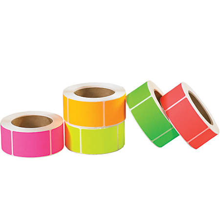 "Tape Logic® Fluorescent Rectangle Inventory Labels, DL1232, 2"" x 3"", Assorted Colors, Pack Of 5,000"