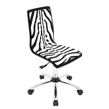 LumiSource Contemporary Faux Leather Mid-Back Chair, Zebra/Black